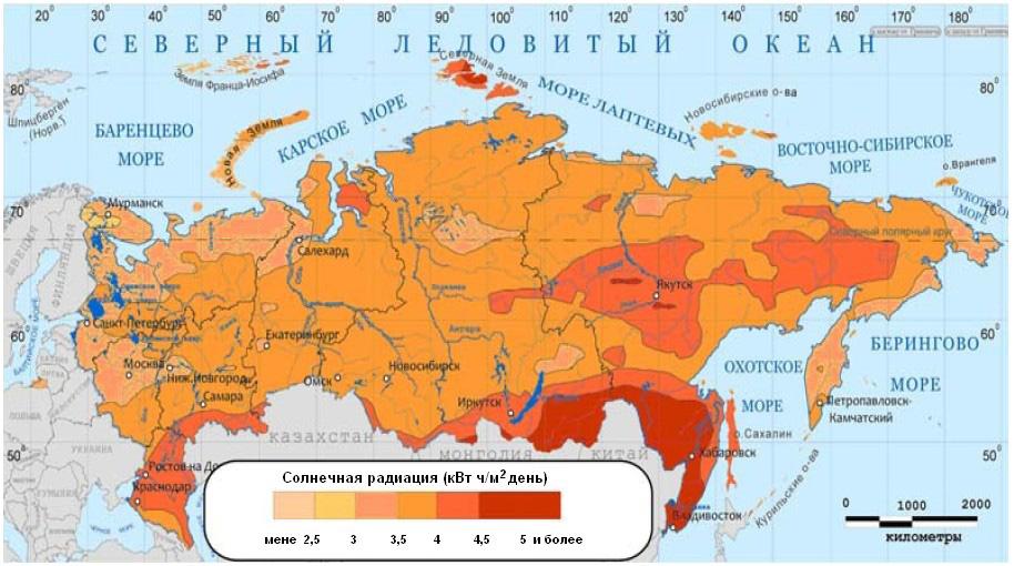 солнечная радиация карта